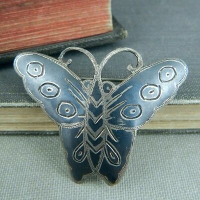 Siam Sterling Silver Nielloware Butterfly Pin / Brooch