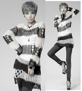 Punk-Rave-Visual-Kei-Sweater-Shirt-Knit-Japan-Fashion-Rock-Stripe-Harajuku-Top-M