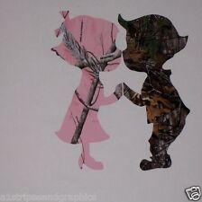 Pink Camo girl & Camo Boy Window Decal Decals Real Tree Sticker M4 Mossy Oak