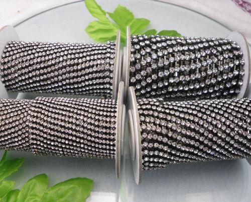 Clear crystal glass rhinestone close gun black cup chain trims Applique 10 yards