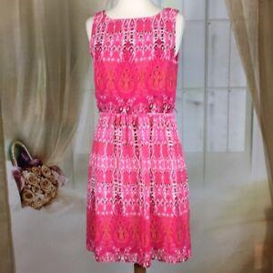 Dress-Barn-Pink-Abstract-Sleeveless-Dress-Size-12P