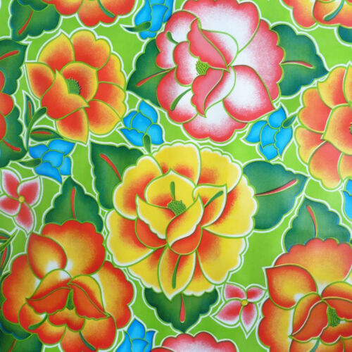 Tehuana Lime Green Boho Oilcloth Material Fabric Kitchen Picnic Table BBQ Craft