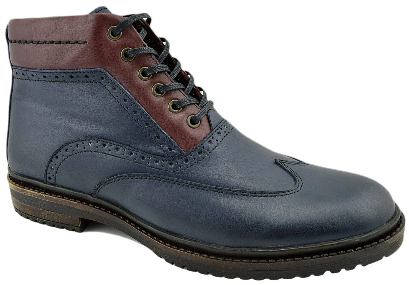 REACTOR bluee Burgandy Leather WINGTIP Brogue Ankle Boots Men shoes
