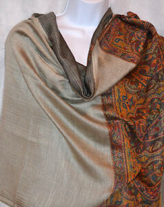 Paisley-double-side-Pashmina-Silk-blend-Shawl-Stole-Wrap-in-gray-from-India