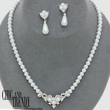 PETITE WHITE PEARL & CRYSTAL BRIDE WEDDING FORMAL NECKLACE JEWELRY SET CHIC TRE