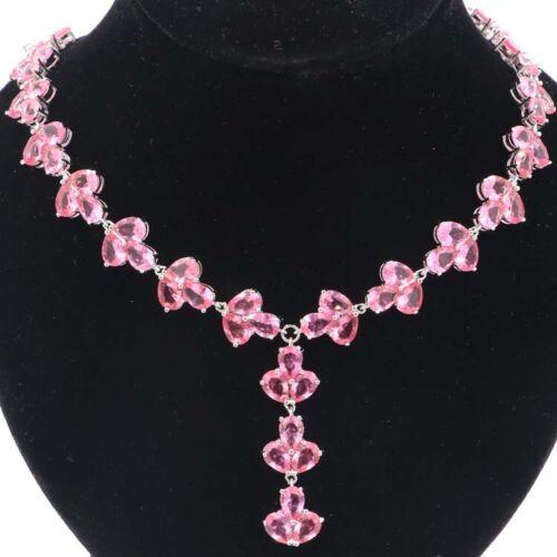 "42x13mm Deluxe Big Heavy 38.6g Pink Morganites Ladies Silver Necklace 18.5-19/"""