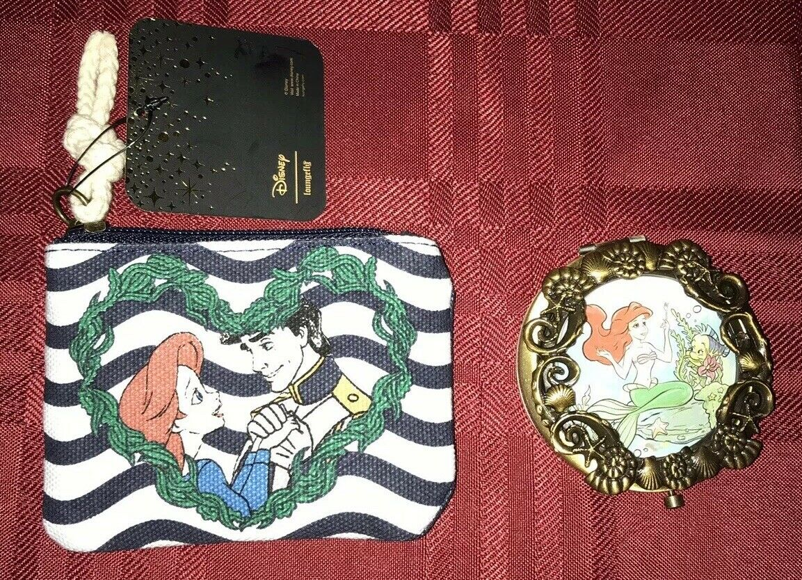 Loungefly Disney The Little Mermaid Nautical Coin Purse & Compact Mirror NEW