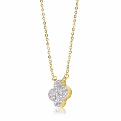 Charm 14K Solid Yellow White Gold CZ Flower Pendant Rolo Chain Necklace Set