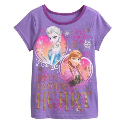 """Disney Girls Frozen Anna /& Elsa /""""Listen To Your Heart/"""" Shirt Size 2T New"""