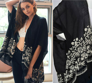 Women's Black Kimono Cardigan Floral Embroidered Open Front Long ...
