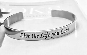 035f87a5be62e Details about UK Ladies Inspirational Silver Bangle Engraved Bracelets with  Sayings Quote Cuff