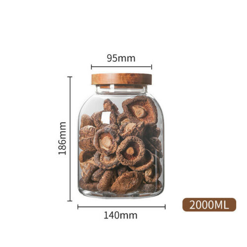 Glass Food Storage Containers Set,Airtight Food Jars with Wooden Lids