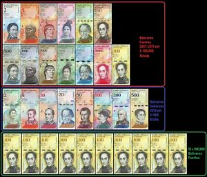 Venezuela-Full-Set-2-100-000-Bolivares-2-500-Soberanos-plus-10-X-100k-31-PCS