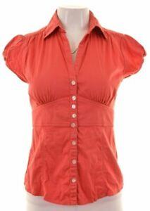 BANANA-REPUBLIC-Womens-Shirt-Short-Sleeve-Size-2-Small-Red-Cotton-HL26