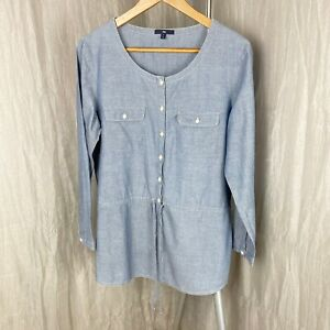 GAP-Blue-Button-Up-SIZE-SMALL-8-10-UK-Long-Sleeve-Cotton-Tunic-Tie-Front-Top