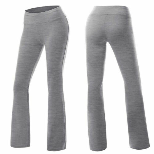 NEW Womens Power Flex Boot Cut Trousers Legs Solid Flare Workout Yoga Pants F089