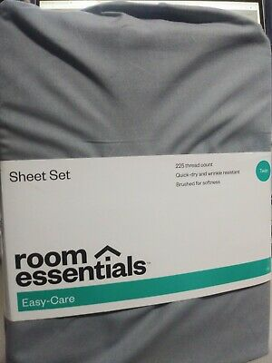 ROOM ESSENTIALS EASY CARE TWIN SIZE SHEET SET 225 THREAD COUNT COLOR TURQUOISE