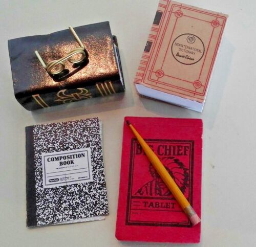 Dollhouse Miniature School Supplies Dictionary Tablets Pencil Eye Glasses 1:12
