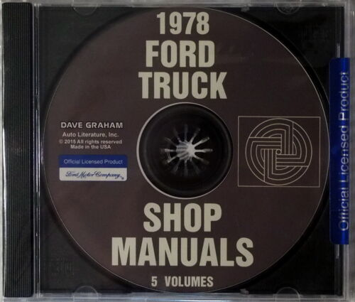 1978 Ford Truck Bronco Bus Econoline Van Factory Service Manual CD Shop Repair
