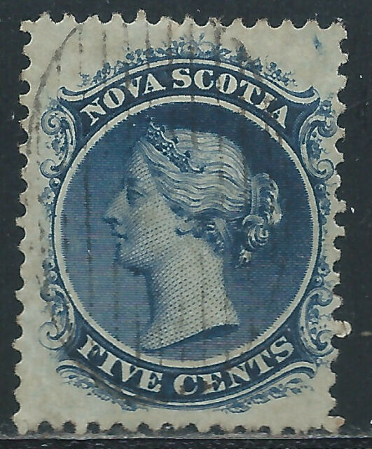 NOVA SCOTIA #10c(1) 1860 5 cent dark blue Perf 12 QUEEN VICTORIA Used CV$15.00