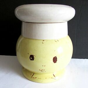 Antique-Pottery-Small-Chef-Cookie-Jar-Smiley-French-Mid-Century-8-5-034-FREE-SH