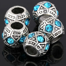 5Pcs White Gold Plated Silver Crystal Charm Beads Lot Fit European Bracelet