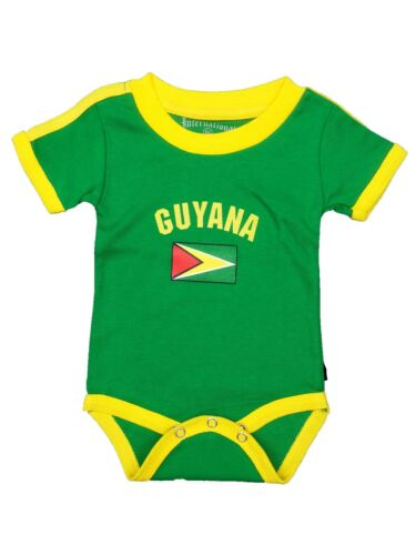 Guyana Baby Bodysuit 100% Cotton Soccer Country Flag T-Shirt All Seasons Infant