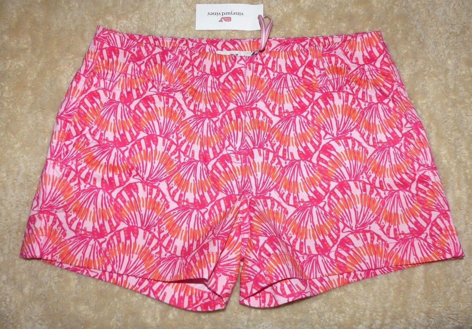 Vineyard Vines Señoras Pantalones cortos cortos cortos de cada día rosado Impresión De Concha De Tulipán Talla 4  98 Nuevo con etiquetas 2afe15