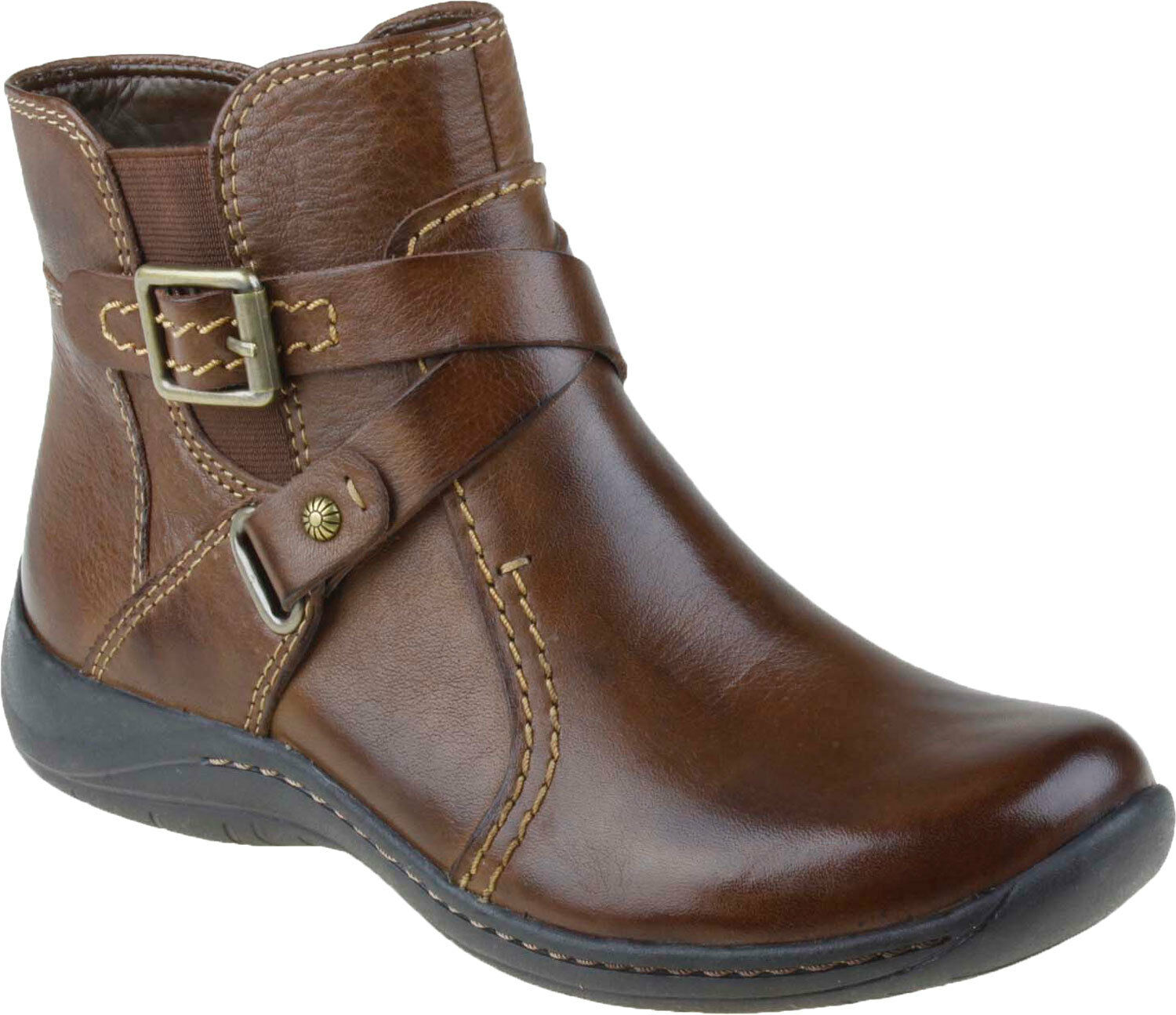 Earth Women's Ironwood Leather Ankle Boots w  Buckle Detail in Bark Size 7B
