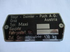 Typenschild Steyr Puch AG Schild id-plate Maxi Moped Mofa s27