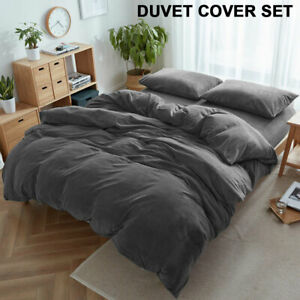 Velvet-Luxury-Natural-Cotton-Jersey-Fitted-Sheet-Pillowcase-Quilt-Cover-Set-AU