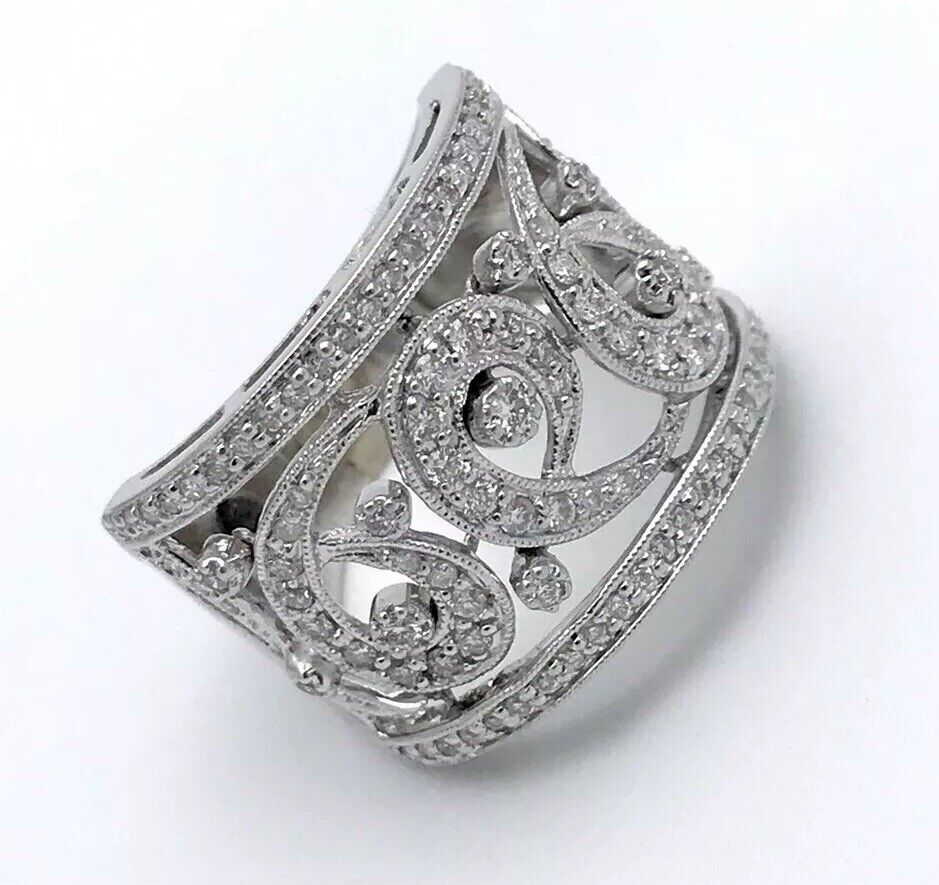 14kt White gold Caledonia Ring With 1ct Diamonds In Filigree Pattern