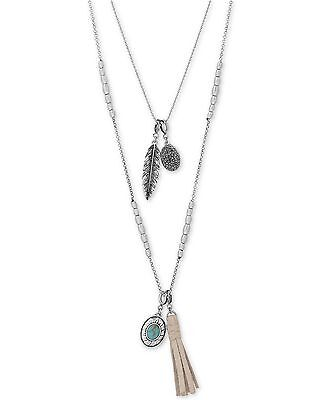 NWT Lucky Brand Silver Turquoise Lucky Layer Multi Charm Tassel Pendant Necklace