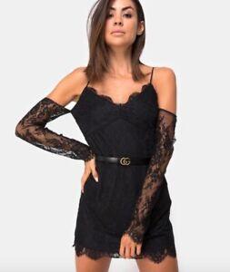 BNWT-MOTEL-ROCKS-TOPSHOP-Black-floral-lace-cold-shoulder-dress-size-M-12-40