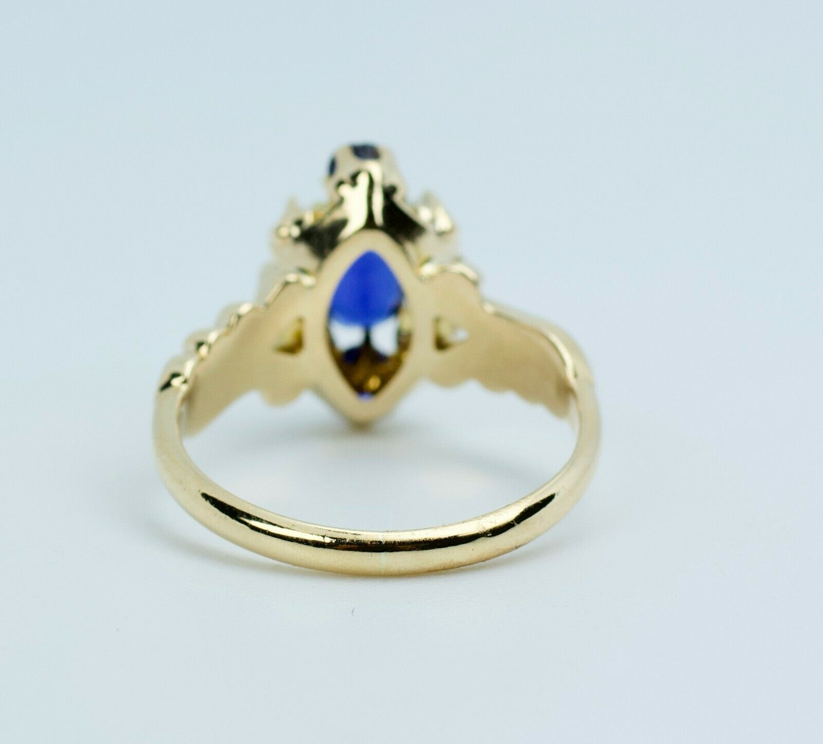 Vintage 14k Yellow Gold Oval Blue Synthetic Sapph… - image 7