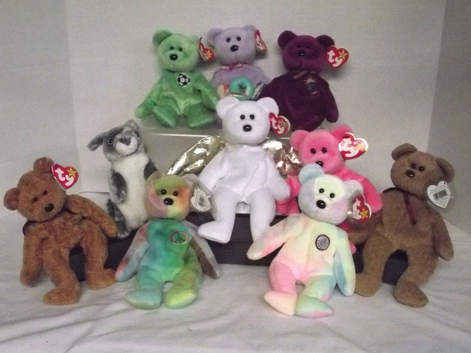 Ty Beanie Babies,Rabbit & Bears, Lot of 10 Halo Hopper, Mom, BB Bear, Millennium
