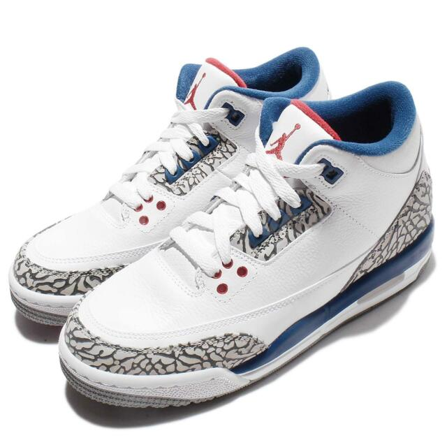 Nike Air Jordan 3 Retro OG BG True Blue Cement White 2016 Kids Women 854261-106