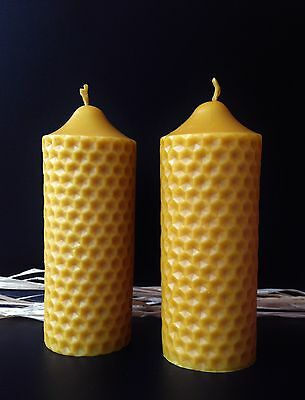 2 PCS NATURAL HANDMADE BEESWAX CANDLES from beekeeper