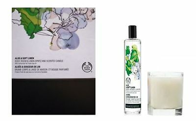 The Body Shop Aloe & Soft Linen Body, Room & Linen Spritz and Scented Candle Set