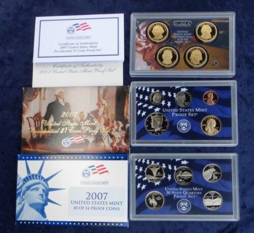 14 Coins Total 2007 U.S DCam Quarters /& Presidential Dollars Mint Proof Set