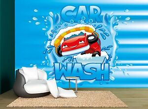 Car Wash Sign Blue Wall Mural Photo Wallpaper Giant Wall Decor Ebay