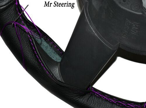 Pour VAUXHALL OPEL VIVARO 01-13 Noir en Cuir Volant couvrir violet Stitch