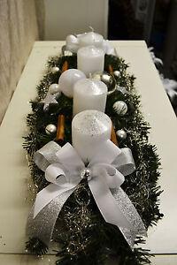 excl adventskranz wei silber 60 cm k nstlich weihnachten. Black Bedroom Furniture Sets. Home Design Ideas