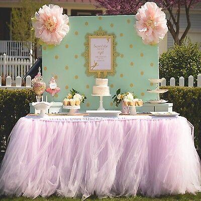 TUTU Tulle Table Skirt Wedding Birthday Decor Party Baby Tableware DIY Pink