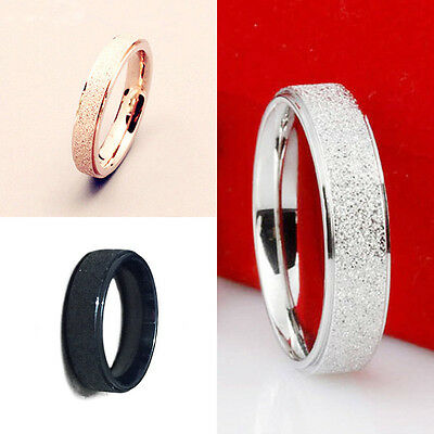 Men Women Wedding Band Ring Rose Gold Silver Frosted 316L Stainless Steel Sz5-12