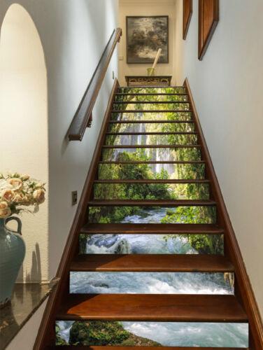 3D Fluss Bach 225 Stair Risers Dekoration Fototapete Vinyl Aufkleber Tapete DE