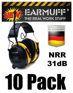 10-31dB-WIRELESS-YELLOW-HEADPHONES-Digital-AM-FM-Radio-MP3-Protection-Ear-Muff