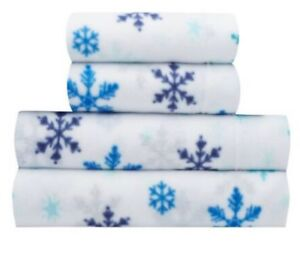 New-SUNBEAM-FLEECE-sheet-set-TWIN-size-Snowflake-Dreams-Blue-pattern