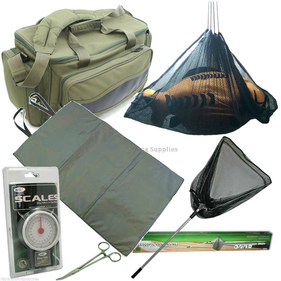 FISHING BAG + UNHOOKING MAT + Landing Net + 50LB SCALES + 8  Forceps + Sling