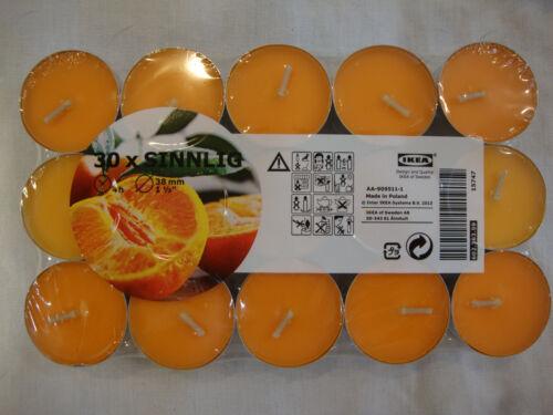 Ikea 30 Sinnlig Candles Tangerine Sunshine Tealight Tea Light Orange Scent Wax